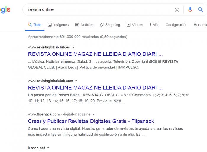 Captura google revista online
